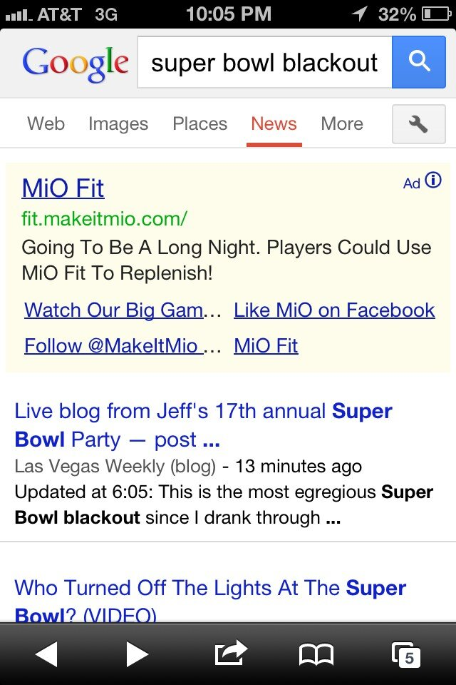 mio fit ad super bowl blackout